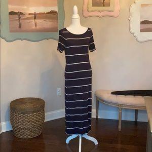 Loft navy & white striped maxi dress